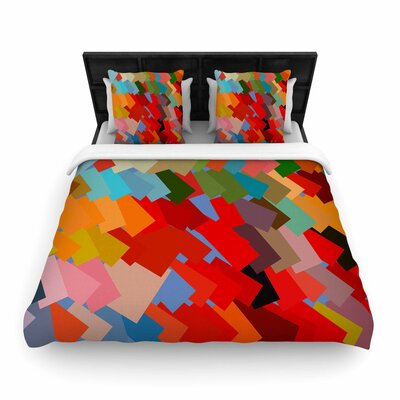 Matthias Hennig Playful Rectangles Woven Duvet Cover Size: King