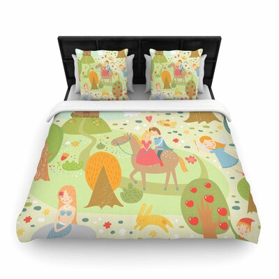 Petit Griffin Fairy Tale Fantasy Illustration Woven Duvet Cover Size: King