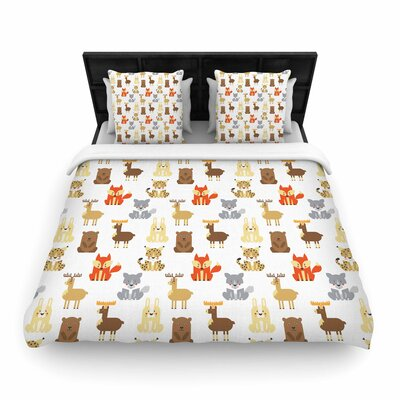 Petit Griffin Retro Animals Woven Duvet Cover Size: King