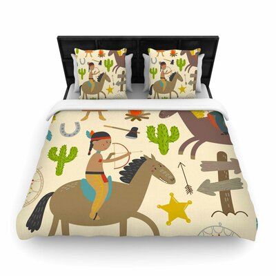 Petit Griffin Tipi Kids Woven Duvet Cover Size: King