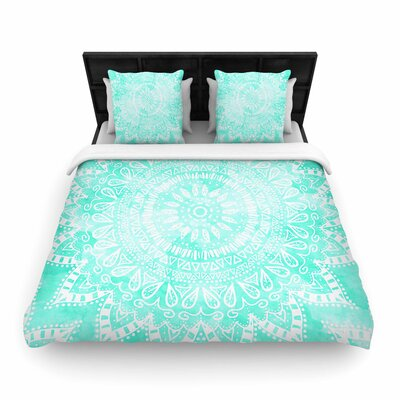 Nika Martinez Boho Flower Mandala Woven Duvet Cover Color: Teal/Aqua Green