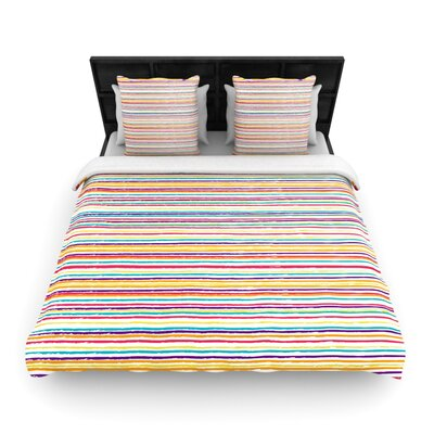 Nika Martinez Summer Stripes Abstract Woven Duvet Cover Size: Full/Queen