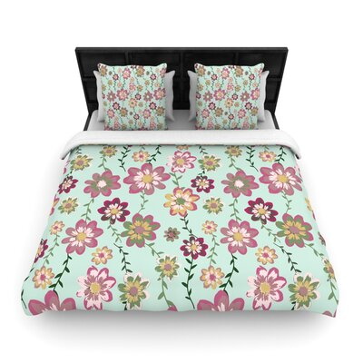 Nika Martinez Romantic Flowers Blush Floral Woven Duvet Cover Color: Mint/Pink, Size: King