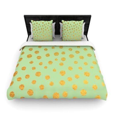 Nika Martinez Dots Woven Duvet Cover Size: King, Color: Black