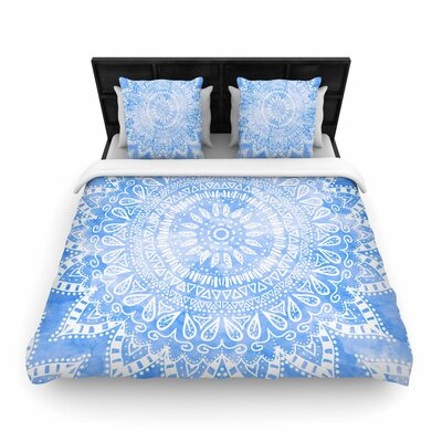 Nika Martinez Boho Flower Mandala Woven Duvet Cover Color: Blue/Aqua