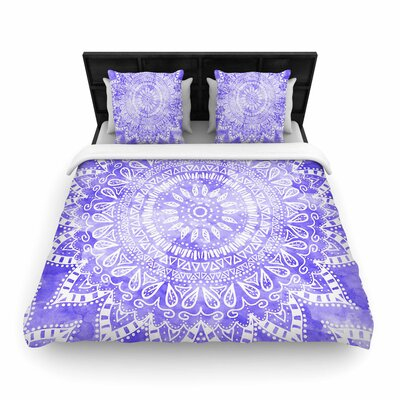 Nika Martinez Boho Flower Mandala Woven Duvet Cover Color: Purple, Size: King