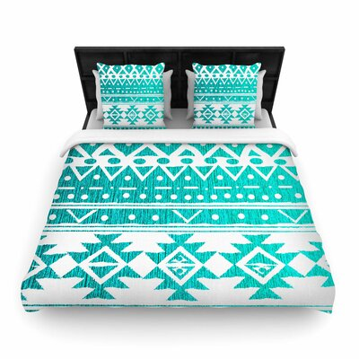 Nika Martinez Aquamarine Tribal Woven Duvet Cover Size: Full/Queen