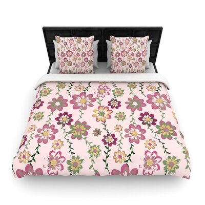 Nika Martinez Romantic Flowers Blush Floral Woven Duvet Cover Color: Pink/Blush, Size: Full/Queen