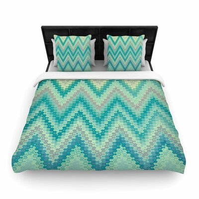 Nika Martinez Seventies Emerald Chevron Abstract Woven Duvet Cover Size: King