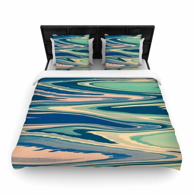 Nika Martinez Beach Waves Abstract Woven Duvet Cover Size: Full/Queen