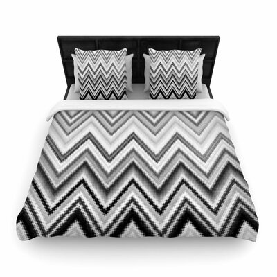 Nika Martinez Seventies Chevron in BW Pattern Woven Duvet Cover Size: Full/Queen