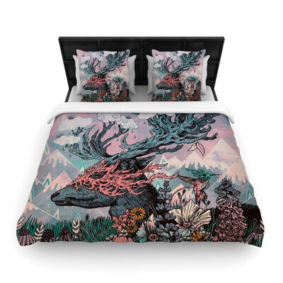 Mat Miller Journeying Spirit (Deer) Fantasy Woven Duvet Cover Size: King