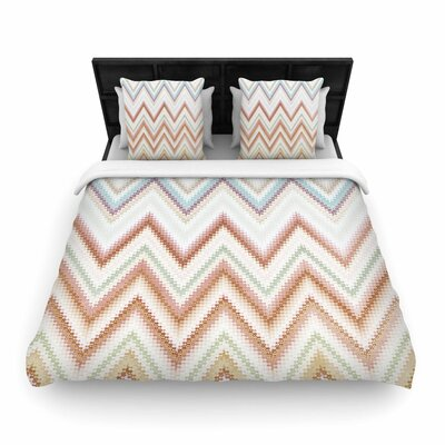 Nika Martinez Seventies Chevron Pattern Woven Duvet Cover Size: Full/Queen