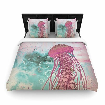 Mat Miller Jellyfish Illustration Woven Duvet Cover Size: King