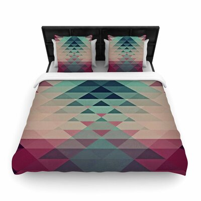 Nika Martinez Hipster Woven Duvet Cover Color: Maroon/Teal, Size: King