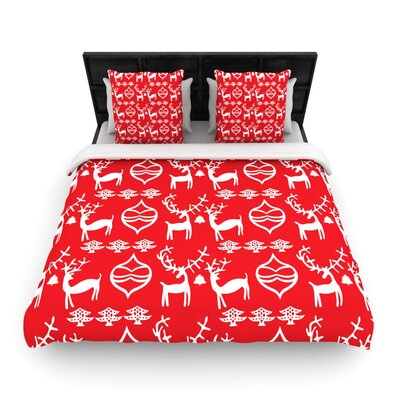 Miranda Mol Antler Fun Holiday Woven Duvet Cover Size: Twin