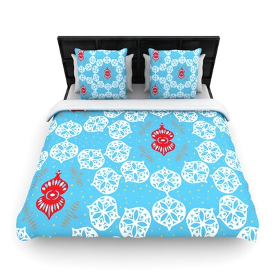 Miranda Mol Frosted Holiday Woven Duvet Cover Size: Twin