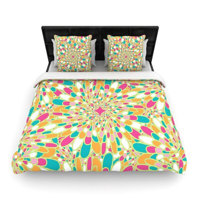 Miranda Mol Flourishing Woven Duvet Cover Size: Twin, Color: Green