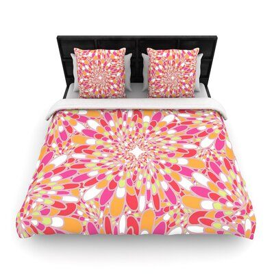 Miranda Mol Flourishing Woven Duvet Cover Size: King, Color: Pink