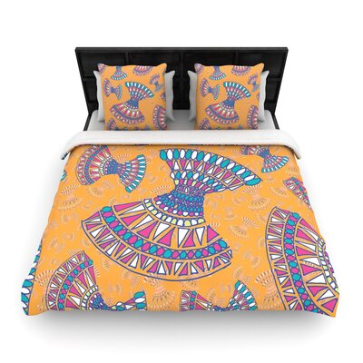 Miranda Mol  Woven Duvet Cover Color: Orange, Size: Full/Queen