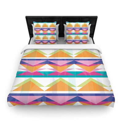 Miranda Mol Triangle Waves Geometric Pattern Woven Duvet Cover Size: King