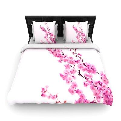 Monika Strigel Cherry Sakura Floral Woven Duvet Cover Color: Pink