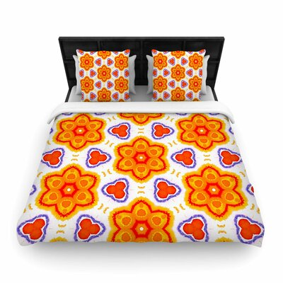 Miranda Mol Kaleidoscopic Flowers Floral Woven Duvet Cover Size: King