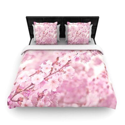 Monika Strigel Endless Cherry Floral Woven Duvet Cover Size: King