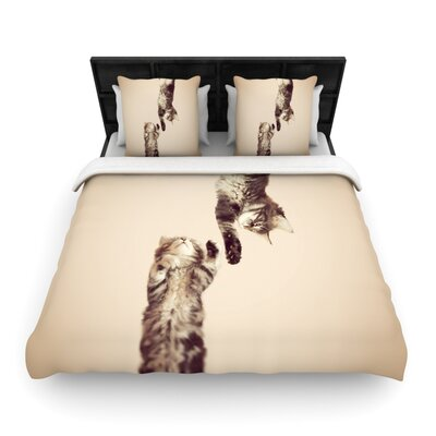 Monika Strigel Upside Down Cats Woven Duvet Cover Size: King
