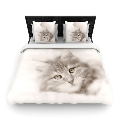 Monika Strigel Main Coon Kitten Cat Woven Duvet Cover Size: King