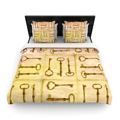 Marianna Tankelevich Secret Keys Woven Duvet Cover Color: Tan, Size: Full/Queen