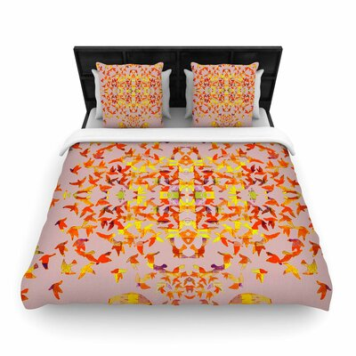 Marianna Tankelevich Flying Birds Abstract Woven Duvet Cover Size: Full/Queen