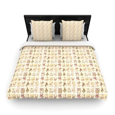 Marianna Tankelevich Cute Birds Grid Woven Duvet Cover Size: King
