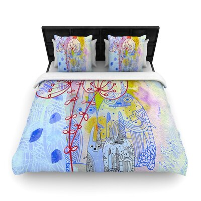 Marianna Tankelevich Composition with Bunnies Abstract Rabbits Woven Duvet Cover Size: King