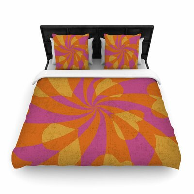 Nacho Filella Heart Explosion Pop Art Woven Duvet Cover Size: Twin