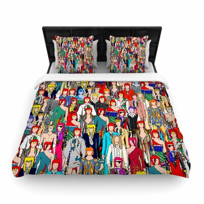 Notsniw Wheres Bowie? Woven Duvet Cover Size: King