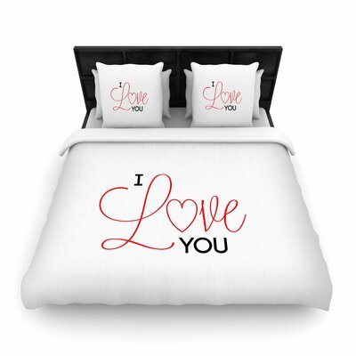 NL Designs I Love You Woven Duvet Cover Size: Twin