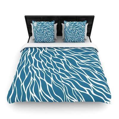 NL Designs Swirls Wave Woven Duvet Cover Color: Blue/Teal, Size: Full/Queen
