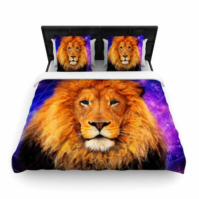 NL Designs Space Lion Woven Duvet Cover Size: King