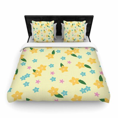 NL Designs Tropical Flowers Pattern Woven Duvet Cover Size: King