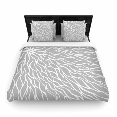 NL Designs Swirls Wave Woven Duvet Cover Color: Gray, Size: Full/Queen