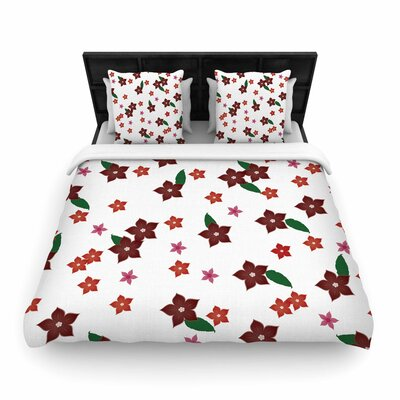NL Designs Holiday Floral Pattern Woven Duvet Cover Size: Full/Queen