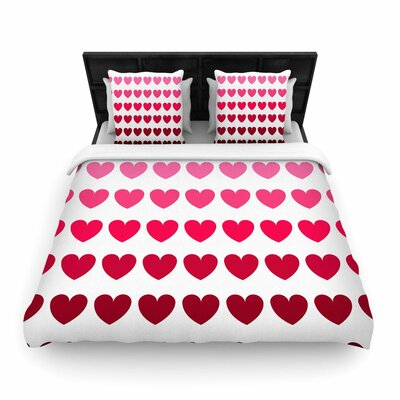 NL Designs Hearts Love Woven Duvet Cover Size: King