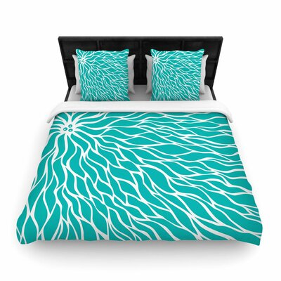 NL Designs Swirls Wave Woven Duvet Cover Color: Teal, Size: King