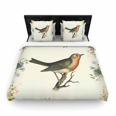 NL Designs Vintage Bird 3 Woven Duvet Cover Size: King