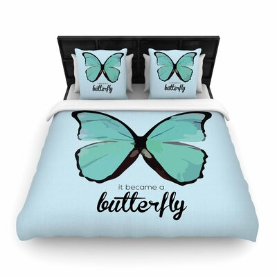 NL Designs Butterfly Quote Woven Duvet Cover Size: Twin