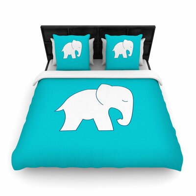 NL Designs Cute Elephant Animals Woven Duvet Cover Size: King