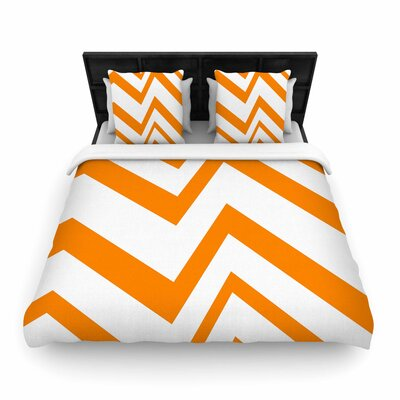 NL Designs ZigZag Woven Duvet Cover Size: King, Color: Orange