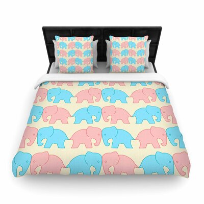 NL Designs Elephants on Parade Animals Woven Duvet Cover Size: Full/Queen
