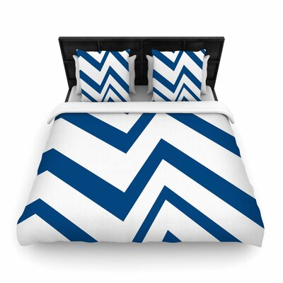 NL Designs ZigZag Woven Duvet Cover Color: Navy, Size: King